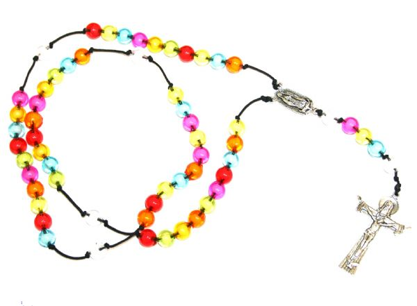 Make your own rosary beads - multi coloured acrylic beads on cord